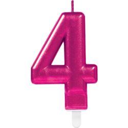 Świeczka cyferka 4 Sparkling Celebrations Pink