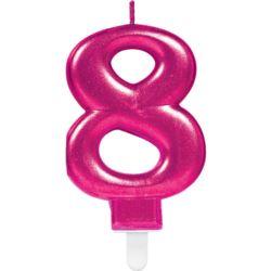 Swieczka cyferka 8 Sparkling Celebrations Pink