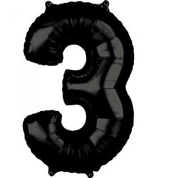 "Balon foliowy Cyfra ""3"" Czarne 66cm"