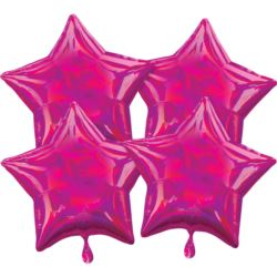 balony, balony na hel, dekoracje balonowe, balony Łódź, balony z nadrukiem, Multi-Pack Iridescent 4 sztuki Star Magenta balon