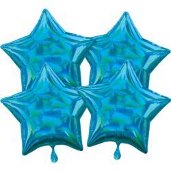 balony, balony na hel, dekoracje balonowe, balony Łódź, balony z nadrukiem, Multi-Pack Iridescent 4 sztuki Star Cyan balon fol
