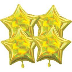 balony, balony na hel, dekoracje balonowe, balony Łódź, balony z nadrukiem, Multi-Pack Iridescent 4 sztuki Star Yellow balon f