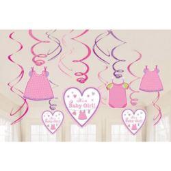 balony, balony na hel, dekoracje balonowe, balony Łódź, balony z nadrukiem, Dekoracyjne sprezynki Baby Shower Dziewczynka