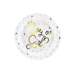 balony, balony na hel, dekoracje balonowe, balony Łódź, balony z nadrukiem, Talerzyki Boy or Girl, 23cm 1 op. 6 szt.