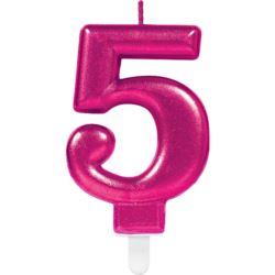 Swieczka cyferka 5 Sparkling Celebrations Pink