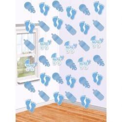 """balony, balony na hel, dekoracje balonowe, balony Łódź, balony z nadrukiem, Dekoracja wiszaca ,""""Baby Boy"""" błękit. 6x2m,"""
