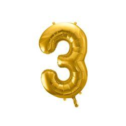 """Balon foliowy Cyfra """"3"""", 86cm, złoty"""