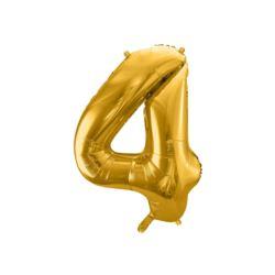 """Balon foliowy Cyfra """"4"""", 86cm, złoty"""