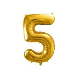 """Balon foliowy Cyfra """"5"""", 86cm, złoty"""