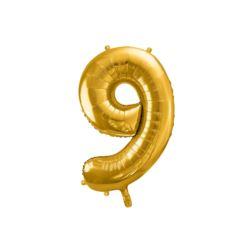"""Balon foliowy Cyfra """"9"""", 86cm, złoty"""
