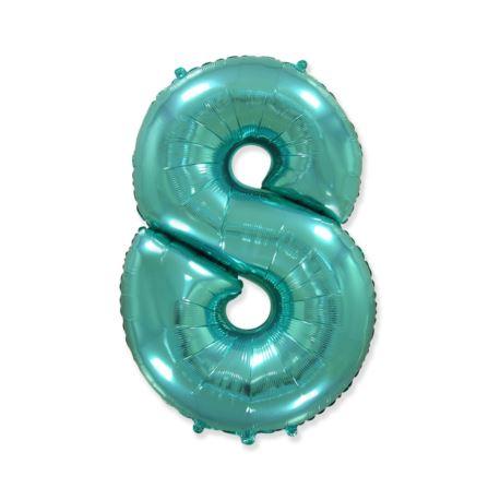 """balony, balony na hel, dekoracje balonowe, balony Łódź, balony z nadrukiem Balon foliowy FX - """"Number 8"""" tiffany, 85 cm"""