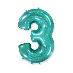 "Balon foliowy FX - ""Number 3"" tiffany, 85 cm"