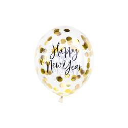 Balon z konfetti Happy New Year, 30 cm, złoty