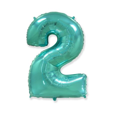 """balony, balony na hel, dekoracje balonowe, balony Łódź, balony z nadrukiem Balon foliowy FX - """"Number 2"""" tiffany, 85 cm"""