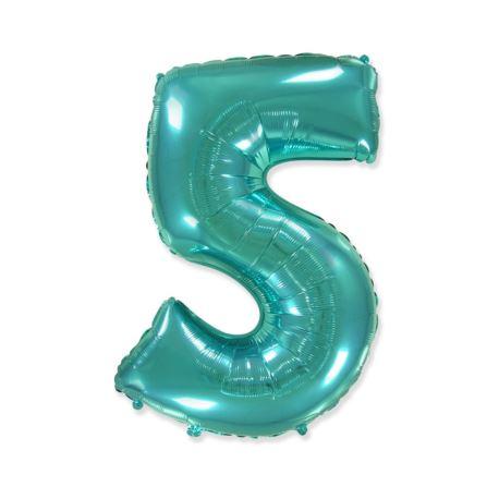 """balony, balony na hel, dekoracje balonowe, balony Łódź, balony z nadrukiem Balon foliowy FX - """"Number 5"""" tiffany, 85 cm"""