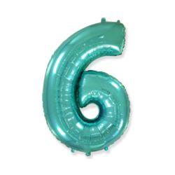"Balon foliowy FX - ""Number 6"" tiffany, 85 cm"