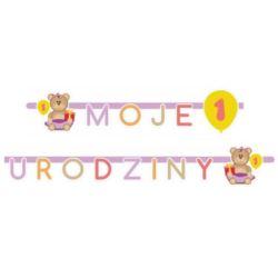 """balony, balony na hel, dekoracje balonowe, balony Łódź, balony z nadrukiem, Girlanda """"Moje 1 Urodziny"""" 1 szt. różowa"""