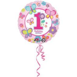 Balon foliowy 1 urodziny dziewczynki 43 cm 1 szt.