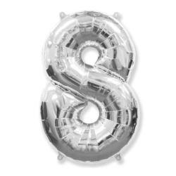 "Balon foliowy FX - ""Number 8"" srebrny 95 cm"