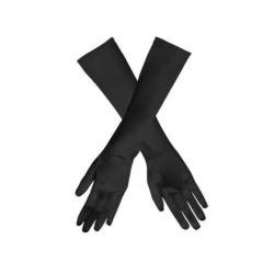"""Rękawiczki satynowe """"Wieczorowe"""", 40 cm, czarne"""