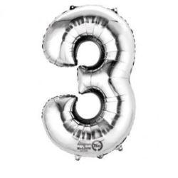 """Balon foliowy cyfra """"3"""" - srebrny, 53x88 cm"""