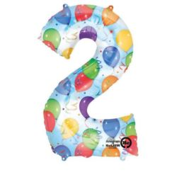 "Balon, foliowy Cyfra ""2"" multicolor 50x88 cm"