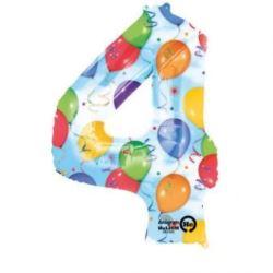 """Balon, foliowy Cyfra """"4"""" multicolor 66x88 cm"""