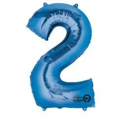 """Balon, foliowy Cyfra """"2"""" - niebieski 50x88 cm"""