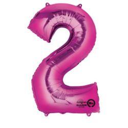 """Balon, foliowy Cyfra """"2"""" - różowy 50x88 cm"""
