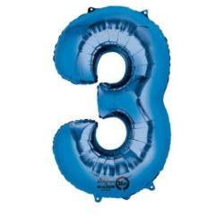 """Balon, foliowy Cyfra """"3"""" - niebieski 53x88 cm"""