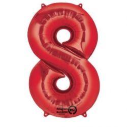 """Balon, foliowy cyfra """"8"""" czerwona 53x83 cm"""