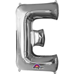 "Balon foliowy Litera ""E"" srebrny 53x81 cm"