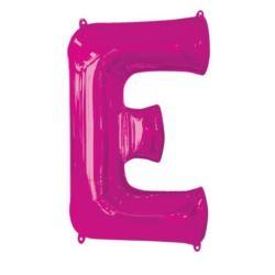 "Balon foliowy Litera ""E"" różowyi, 53x81 cm"