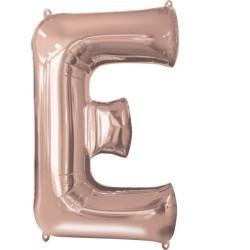 """Balon foliowy Litera """"E"""" różowe złoto - 53x81 cm"""