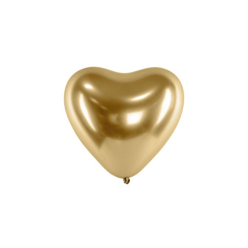 Balony Glossy 27cm, Serca, złoty