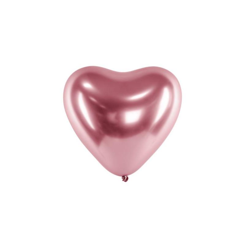 Balony Glossy 30cm, Serca, różowe złoto