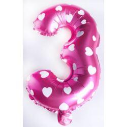 """Balon foliowy cyfra """"3"""" - różowe w serduszka"""