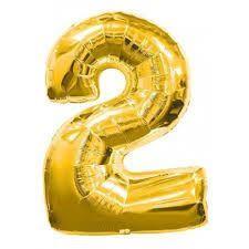 """Balon foliowy cyfra """"2"""" - złoty 32"""" 1 szt."""