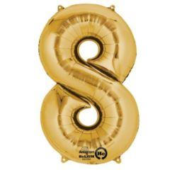 """Balon foliowy Cyfra """"8"""" - złota 53x83 cm"""