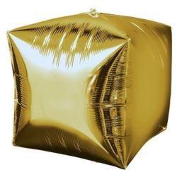 """Balon, foliowy 15"""" CBZ - sześcian złoty 1 szt."""