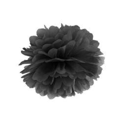 Pompon bibułowy, czarny 35 cm, 1 szt.