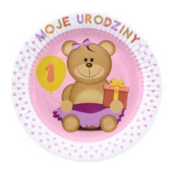 """balony, balony na hel, dekoracje balonowe, balony Łódź, balony z nadrukiem, Talerzyki papierowe """"Moje 1 Urodziny"""", różowe"""