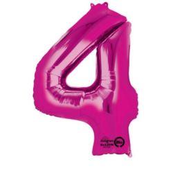 """Balon, foliowy Cyfra """"4"""" - różowy 66x88 cm"""