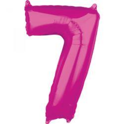 "Balon foliowy Cyfra ""7"" Róż 66cm"