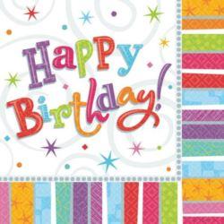 balony, balony na hel, dekoracje balonowe, balony Łódź, balony z nadrukiem, Serwetki Happy Birthday 33x33 cm 16 szt.
