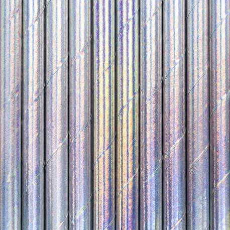 Słomki papierowe, opalizujący, 19,5cm