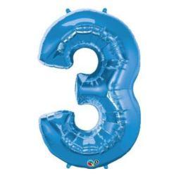 """Balon, foliowy 34"""" QL Number """"3"""" niebieski"""