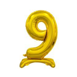 Balon foliowy B&C Cyfra stojąca 9, złota, 74 cm