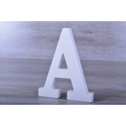 """Litery ozdobne, drewno 16 cm """"A"""" - biały, 1 szt."""