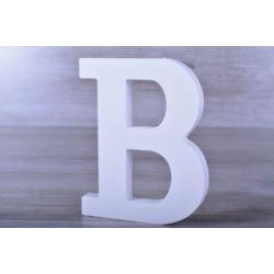 """Litery ozdobne, drewno 16 cm """"B"""" - biały, 1 szt."""